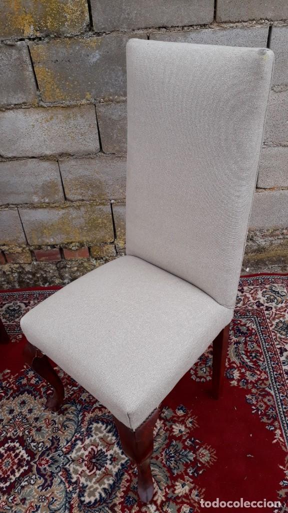 Antigüedades: 2 dos sillas antiguas respaldo alto. Silla antigua respaldo alto. Silla antigua vintage. - Foto 8 - 182814216