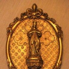 Antigüedades: ANTIGUO RELIEVE DE MADERA CON IMAGEN DE LA VIRGEN. Lote 182840535