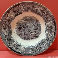 Antigüedades: PLATO HONDO, VILARINO, CARTAGENA. ESCENA DE CAZA.. Lote 182845601