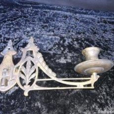 Antigüedades: 1 CANDELABRO DE PIANO DE BRONCE. Lote 182847898