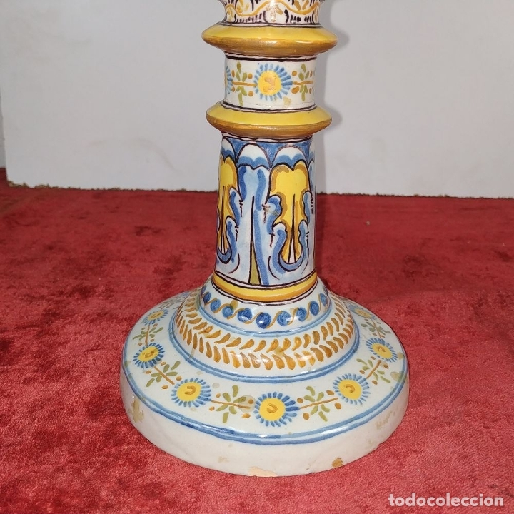 Antigüedades: PAREJA DE CANDELABROS DE 2 LUCES. MARCAS DE CERÁMICA DE TALAVERA. ESPAÑA. SIGLO XX - Foto 6 - 182851986