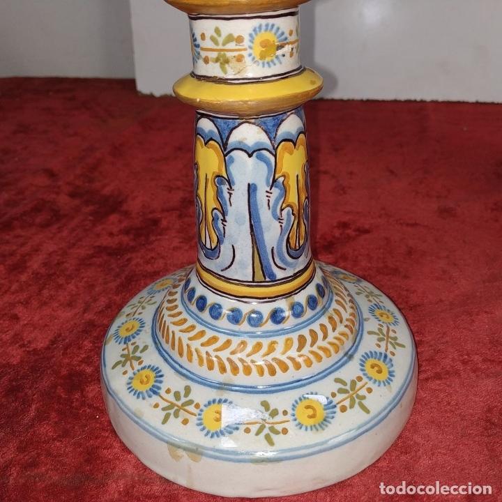 Antigüedades: PAREJA DE CANDELABROS DE 2 LUCES. MARCAS DE CERÁMICA DE TALAVERA. ESPAÑA. SIGLO XX - Foto 8 - 182851986