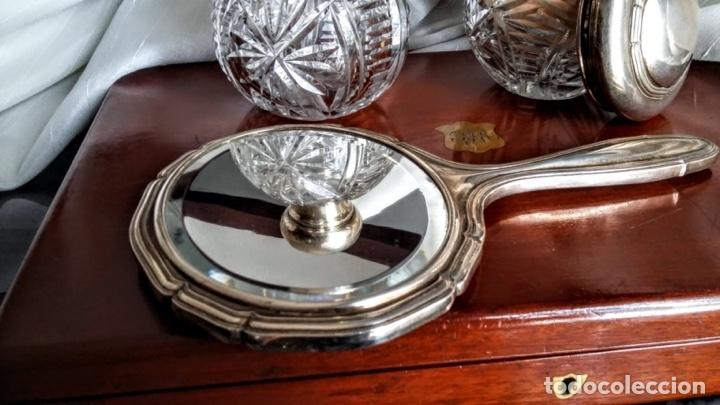 Antigüedades: Juego de plata para tocador. Mediados de S XX. 6 piezas - Foto 2 - 182856675