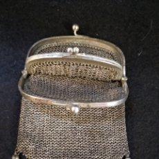 Antigüedades: MONEDERO DE PLATA DE DOBLE MALLA.. Lote 182872592