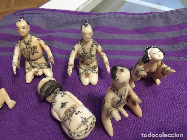 Antigüedades: FIGURAS DE KAMASUTRA DE HUESO - Foto 5 - 182890301