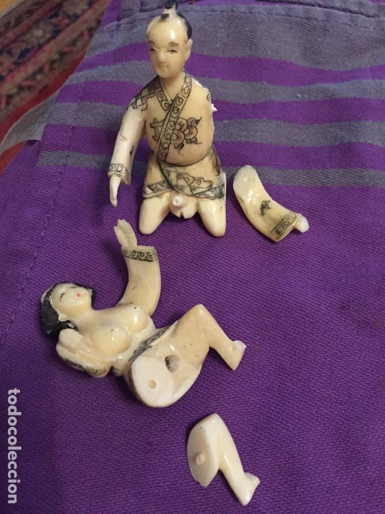 Antigüedades: FIGURAS DE KAMASUTRA DE HUESO - Foto 12 - 182890301