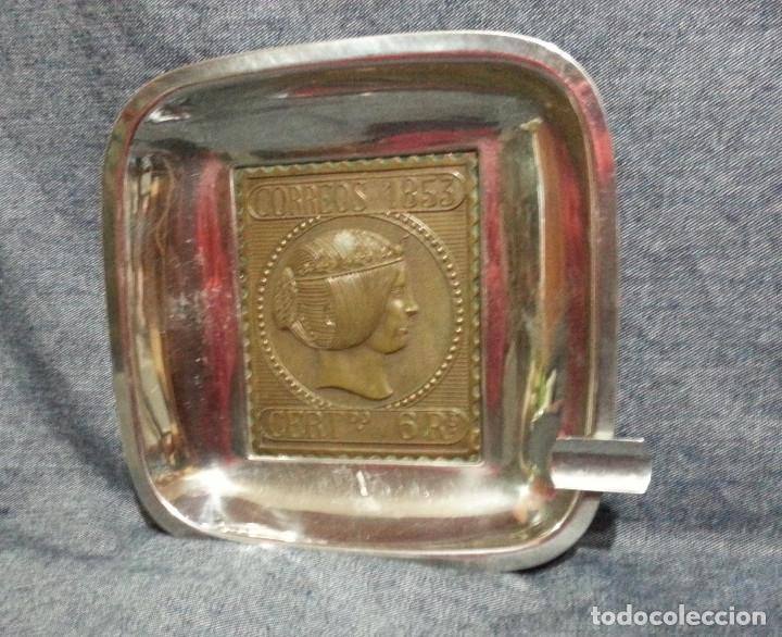 CENICERO SELLO 6 REALES 1853.....18,5 X 18,5 CM.. (Antigüedades - Hogar y Decoración - Ceniceros Antiguos)
