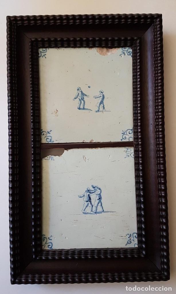 ANTIGUOS AZULEJOS DELFT S. XVIII NINÕS JUGANDO MOLDURA PALO SANTO (Antigüedades - Porcelana y Cerámica - Holandesa - Delft)
