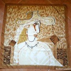 Antigüedades: ANTIGUO PAÑUELO DE SEDA ESTAMPADO TIPO DALI O PICASSO 87 CM. Lote 182970410