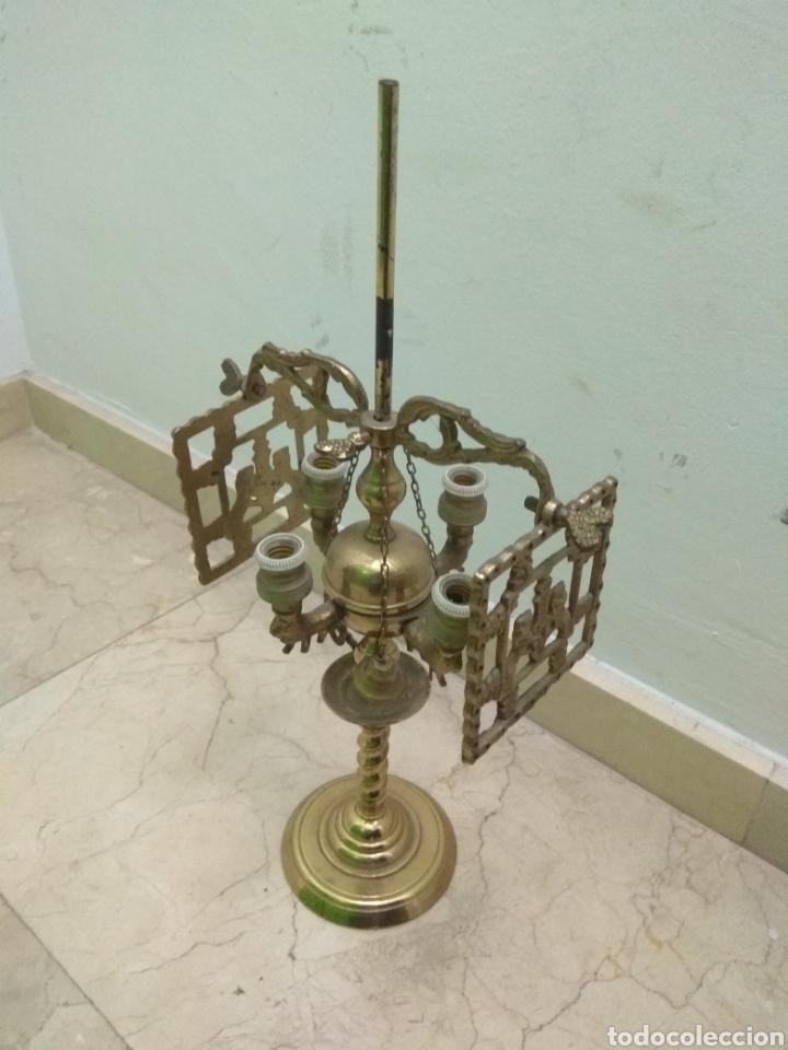 ANTIGUA LÁMPARA DE ACEITE - LUZ ELÉCTRICA - (Antigüedades - Iluminación - Lámparas Antiguas)