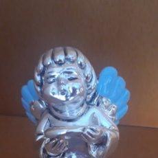 Antigüedades: ANGELITO QUERUBIN CANTOR ALAS AZULES EN PLATA. Lote 182980963