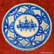 Antigüedades: PLATO. CERÁMICA ESMALTADA A MANO EN AZUL. CATALUNYA. ESPAÑA. SIGLO XIX. Lote 182983511