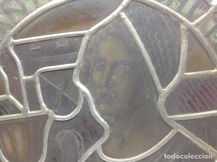 Antigüedades: VIDRIERA ANTIGUA EMPLOMADA - VITRALL DE ORIGEN ALEMAN CIRCULAR - CRISTAL EMPLOMADO - Foto 4 - 183000167
