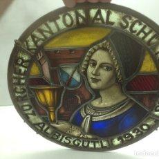 Antigüedades: VIDRIERA ANTIGUA EMPLOMADA - VITRALL DE ORIGEN ALEMAN CIRCULAR - CRISTAL EMPLOMADO. Lote 183000167
