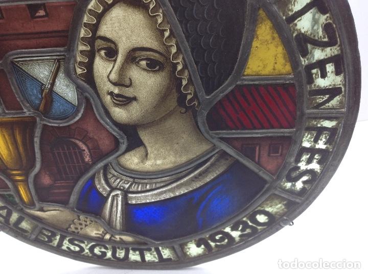 Antigüedades: VIDRIERA ANTIGUA EMPLOMADA - VITRALL DE ORIGEN ALEMAN CIRCULAR - CRISTAL EMPLOMADO - Foto 3 - 183000167