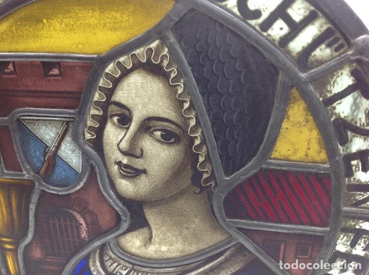 Antigüedades: VIDRIERA ANTIGUA EMPLOMADA - VITRALL DE ORIGEN ALEMAN CIRCULAR - CRISTAL EMPLOMADO - Foto 9 - 183000167