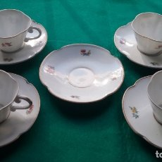 Antigüedades: CASTRO PORCELANA JUEGO CAFÉ 1° ÉPOCA CUÑO DOLMEN AÑOS'50. Lote 183017272