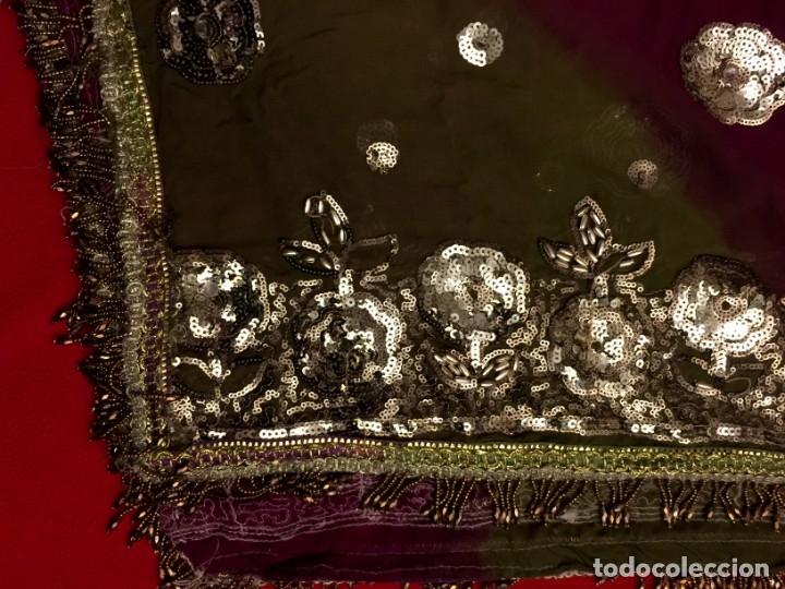 Antigüedades: GRAN CHAL - ECHARPE DE CHIFFON BORDADO A MANO - 2,10 METROS. - Foto 3 - 183019050