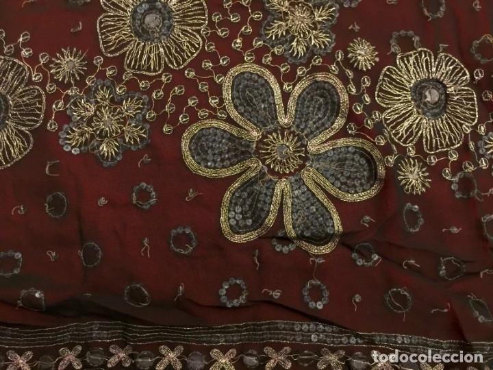 Antigüedades: SARI - SAREE EN CREPE DE SEDA CON BORDADO EN HILO DE PLATA - 5,15 METROS. - Foto 5 - 183037495