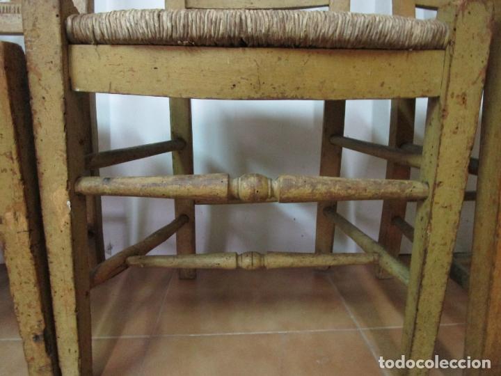 Antigüedades: Juego de 5 Sillas Mallorquinas - Carlos IV - Mallorca - Madera de Pino Policromadas -Finales S.XVIII - Foto 9 - 183053398
