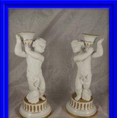 Antigüedades: PAREJA DE FIGURAS DE PORCELANA BISCUIT FIRMADAS BIDASOA. Lote 183058285