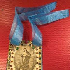 Antigüedades: ANTIGUO ESCAPULARIO BORDADO DE LA INMACULADA CONCEPCIÓN . Lote 183074248