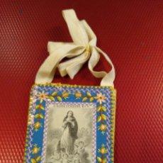 Antigüedades: ANTIGUO ESCAPULARIO BORDADO DE LA VIRGEN MARÍA. PURÍSIMA . Lote 183074427