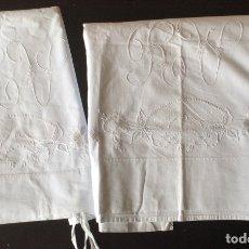 Antigüedades: ANTIGUO JUEGO DE SÁBANAS Y FUNDA DE ALMOHADA BORDADO A MANO 1,86 X 1,43CM. Lote 183083445