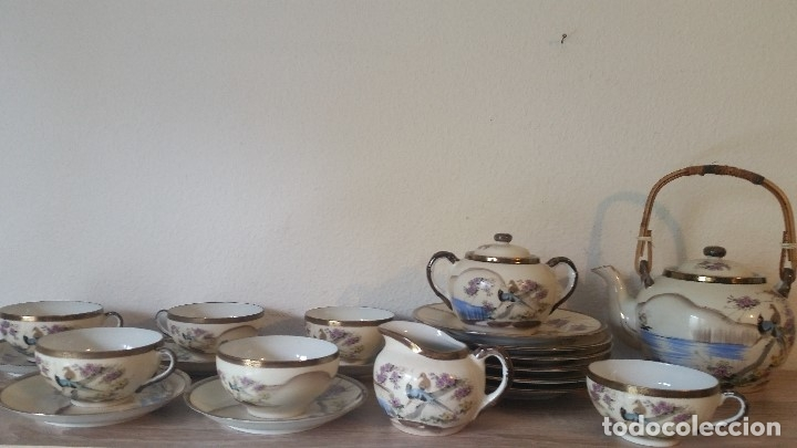 EXPLENDIDO JUEGO DE THE O CAFE JAPONES ES ORIGINAL ESTA SELADO LA CARA JAPONESA DENTRO DA TAZA (Antigüedades - Porcelana y Cerámica - Japón)