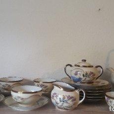 Antigüedades: EXPLENDIDO JUEGO DE THE O CAFE JAPONES ES ORIGINAL ESTA SELADO LA CARA JAPONESA DENTRO DA TAZA. Lote 183087771
