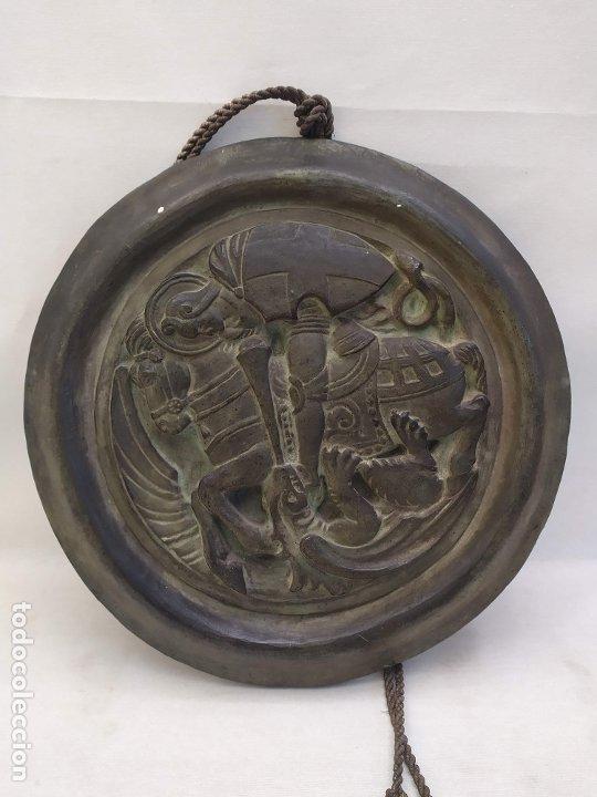 Antigüedades: Sant Jordi. Ceramica de Quart (Girona). s.XX. 36.3cm - Foto 2 - 183090641