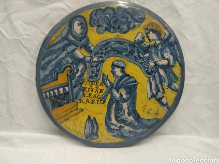 PLACA//AZULEJO DE TALAVERA O PUENTE DEL ARZOBISPO SIGLO XVII (Antigüedades - Porcelanas y Cerámicas - Talavera)