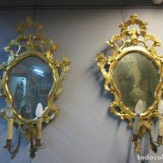 Antigüedades: PAREJA DE CORNUCOPIAS - MADERA TALLADA Y DORADA - ESPEJOS GRABADOS AL ÁCIDO - CON APLIQUES -AÑO 1858. Lote 183253020