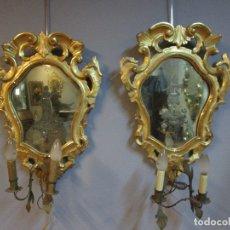 Antigüedades: PAREJA DE CORNUCOPIAS - MADERA TALLADA Y DORADA - ESPEJOS GRABADOS AL ÁCIDO - CON APLIQUES. Lote 183266270
