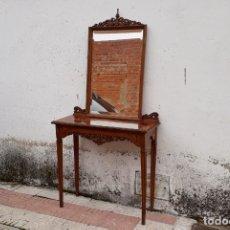 Antigüedades: CONSOLA ANTIGUA CON ESPEJO ESTILO LUIS XVI. ESPEJO ANTIGUO CON CONSOLA, ENTRADA RECIBIDOR VINTAGE.. Lote 183270375