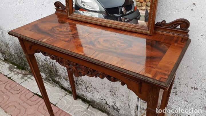 Antigüedades: Consola antigua con espejo estilo Luis XVI. Espejo antiguo con consola, entrada recibidor vintage. - Foto 2 - 183270375