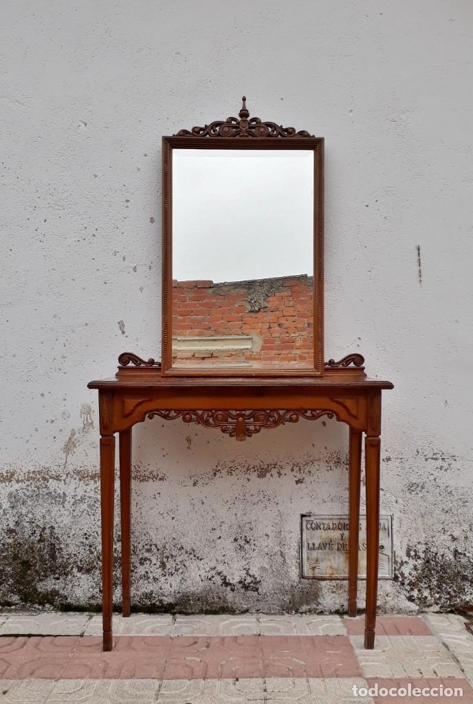 Antigüedades: Consola antigua con espejo estilo Luis XVI. Espejo antiguo con consola, entrada recibidor vintage. - Foto 3 - 183270375