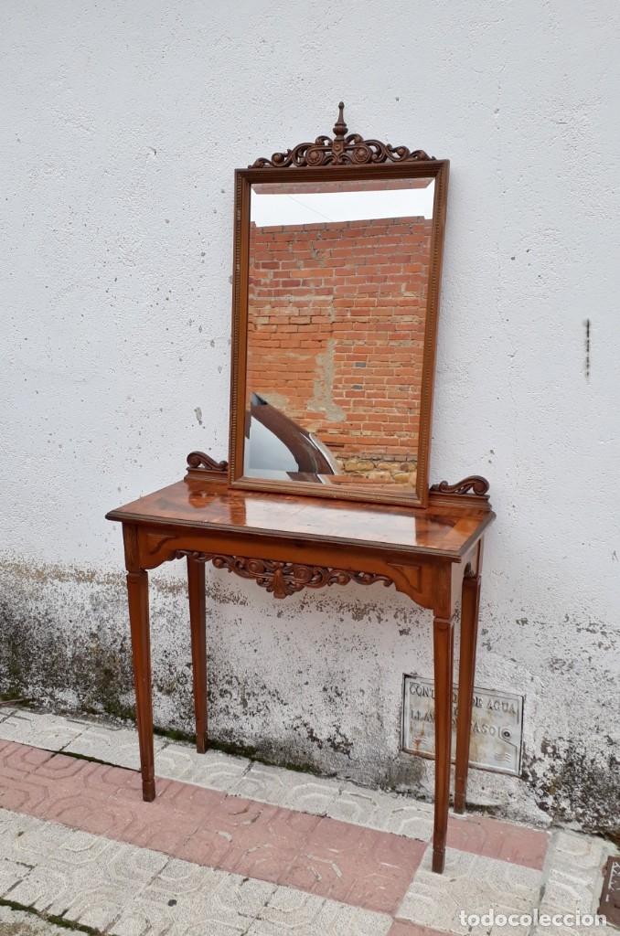 Antigüedades: Consola antigua con espejo estilo Luis XVI. Espejo antiguo con consola, entrada recibidor vintage. - Foto 4 - 183270375