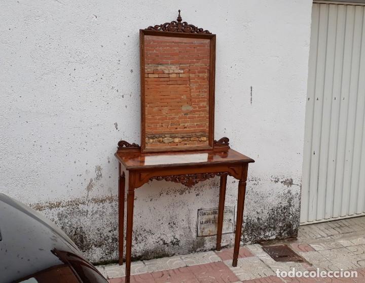 Antigüedades: Consola antigua con espejo estilo Luis XVI. Espejo antiguo con consola, entrada recibidor vintage. - Foto 5 - 183270375