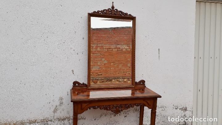 Antigüedades: Consola antigua con espejo estilo Luis XVI. Espejo antiguo con consola, entrada recibidor vintage. - Foto 6 - 183270375