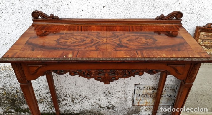 Antigüedades: Consola antigua con espejo estilo Luis XVI. Espejo antiguo con consola, entrada recibidor vintage. - Foto 7 - 183270375