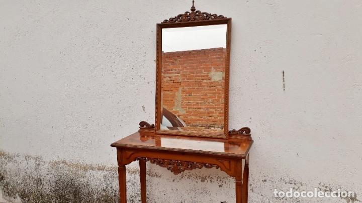 Antigüedades: Consola antigua con espejo estilo Luis XVI. Espejo antiguo con consola, entrada recibidor vintage. - Foto 8 - 183270375