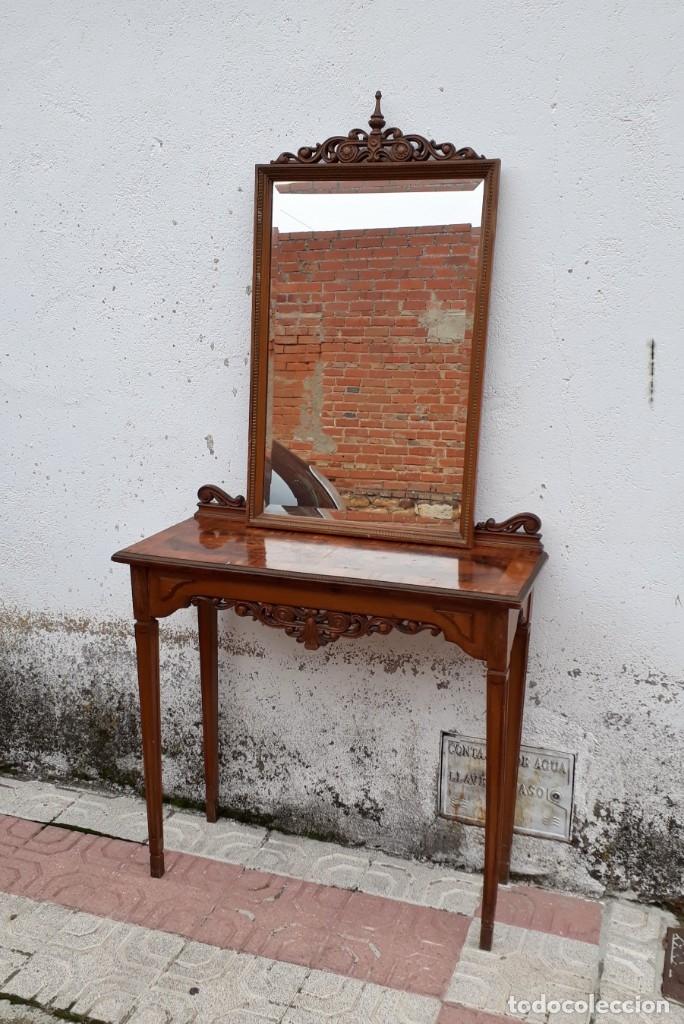 Antigüedades: Consola antigua con espejo estilo Luis XVI. Espejo antiguo con consola, entrada recibidor vintage. - Foto 9 - 183270375