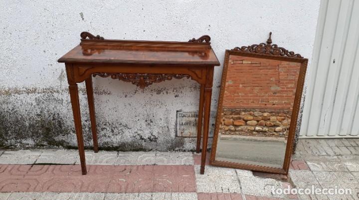 Antigüedades: Consola antigua con espejo estilo Luis XVI. Espejo antiguo con consola, entrada recibidor vintage. - Foto 10 - 183270375