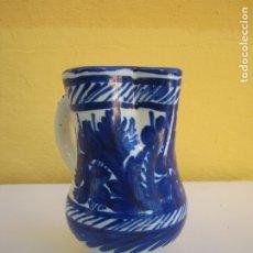 Antigüedades: ANTIGUA JARRA AZUL MANISES. FIRMADA. Lote 183271387