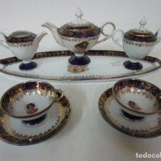 Antigüedades: BONITO JUEGO DE CAFÉ O TE - PORCELANA LIMOGES, FRANCIA - AZUL COBALTO Y DORADO. Lote 183286483