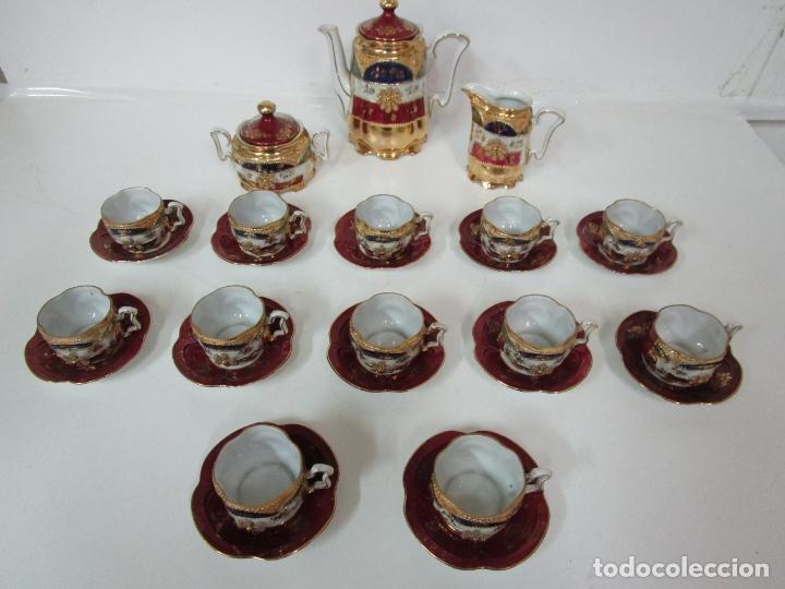 Antigüedades: Bonito Juego de Café o Te - Porcelana Limoges, Francia - 12 Tazas - Fino Dorado - Foto 2 - 183287371