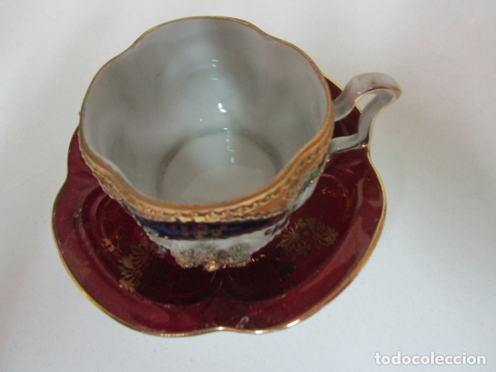 Antigüedades: Bonito Juego de Café o Te - Porcelana Limoges, Francia - 12 Tazas - Fino Dorado - Foto 3 - 183287371
