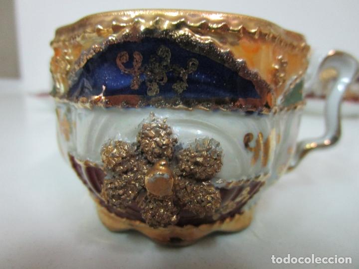 Antigüedades: Bonito Juego de Café o Te - Porcelana Limoges, Francia - 12 Tazas - Fino Dorado - Foto 7 - 183287371
