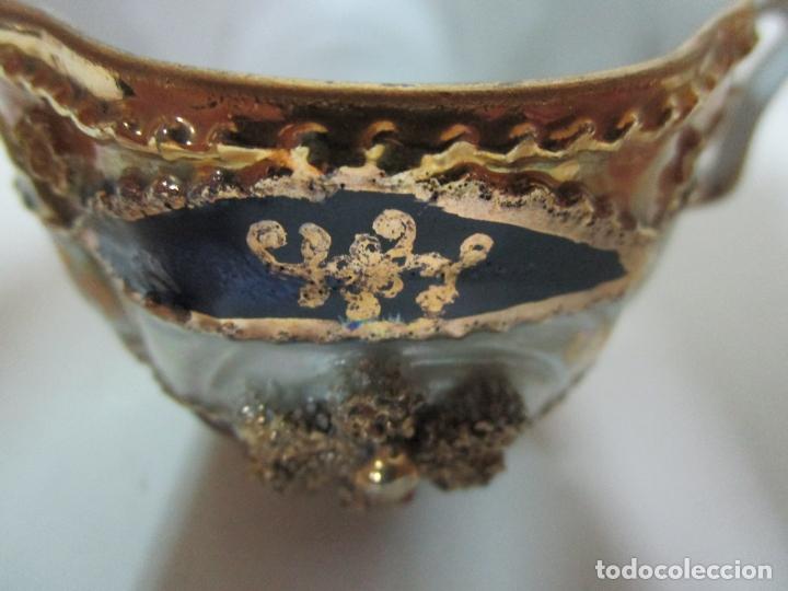 Antigüedades: Bonito Juego de Café o Te - Porcelana Limoges, Francia - 12 Tazas - Fino Dorado - Foto 9 - 183287371